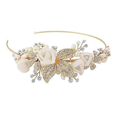 Clara Fabric Rose Headband Gold