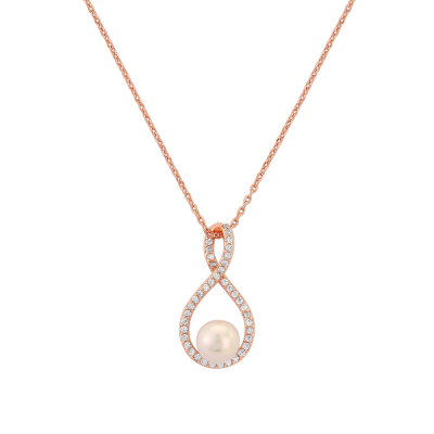 CZ Collection Exquisite Infinity Necklace - Rose Gold