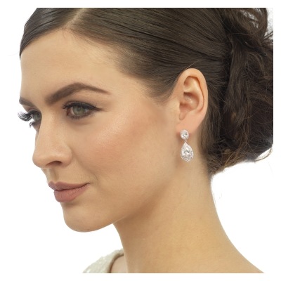 CZ Collection Gatsby Dainty Treasure Earrings - Rose Gold