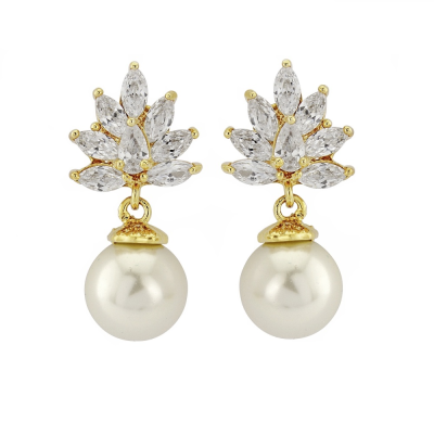 CZ Collection Crystal Cluster Pearl Earrings - Gold