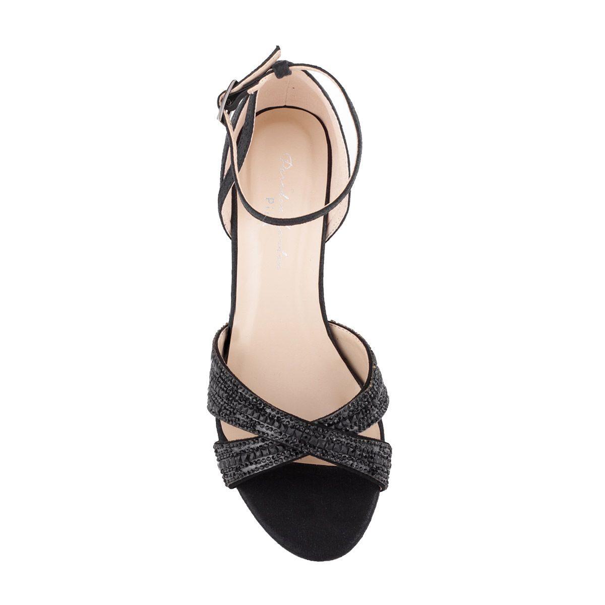 Pink Paradox Sabrina - Black Low Heel Crystal Cross Front Strap Sandal