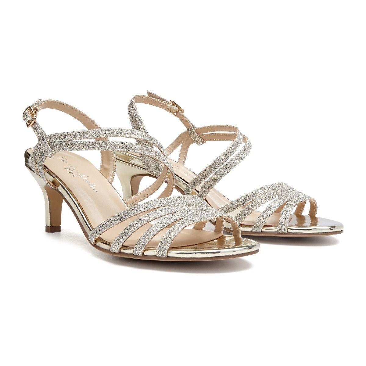 Pink Paradox Sania - Low Heel Champagne Asymmetric Sandal