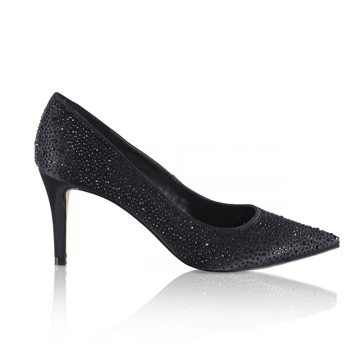 Perfect Bridal Stara Shoes - Crystal Encrusted Black Satin