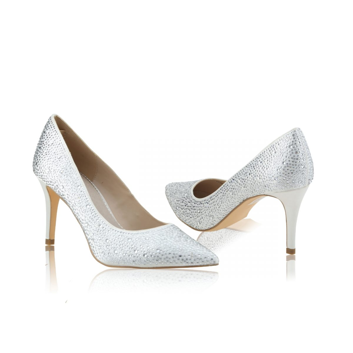 Perfect Bridal Stara Shoes - Crystal Encrusted Ivory Satin