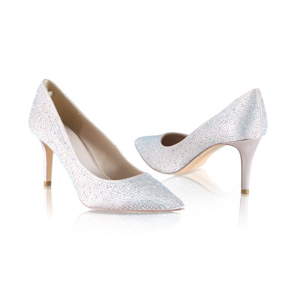 Perfect Bridal Stara Shoes - Crystal Encrusted Nude Satin