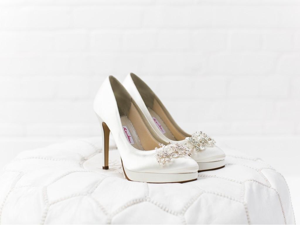 Rainbow Club Skye - Ivory Satin Platform Shoes with Floral Crystal Trim