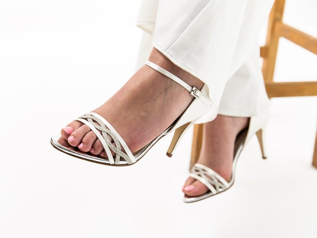Rainbow Club Dakota - Ivory Shimmer & Satin Sandal