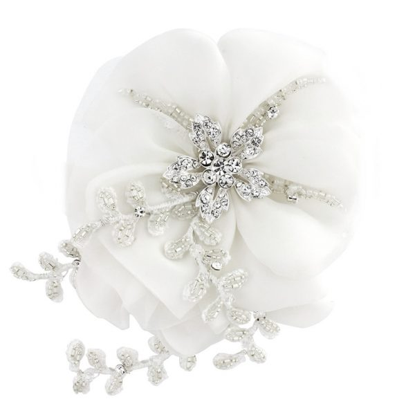 Verity White Bridal Hair Flower