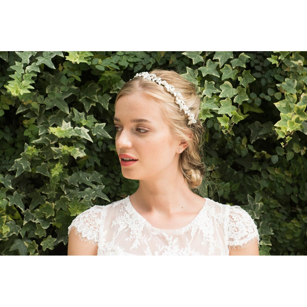 Ivory & Co Fuchsia Silver Crystal and Pearl Headpiece 3