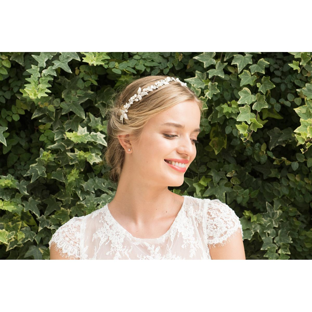 Ivory & Co Fuchsia Silver Crystal and Pearl Headpiece 4