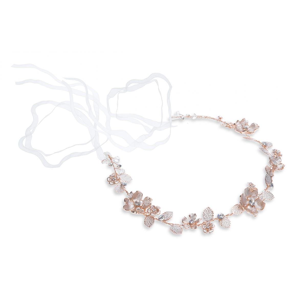 Ivory & Co Sienna Rose Gold Crystal Hairvine 1