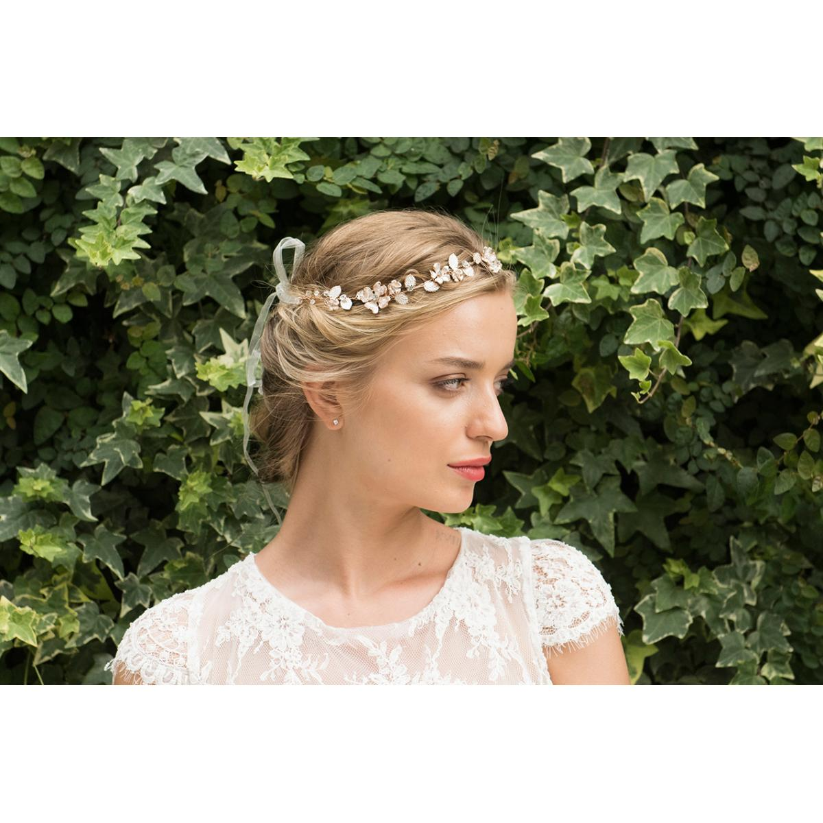 Ivory & Co Sienna Rose Gold Crystal Hairvine 3