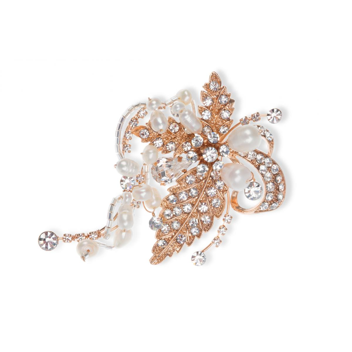 Ivory & Co Tallulah Rose Gold Crystal Floral Hair Clip 1