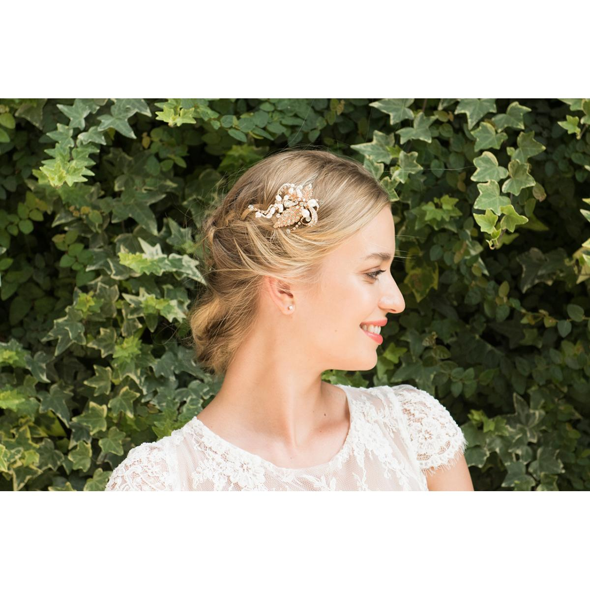 Ivory & Co Tallulah Rose Gold Crystal Floral Hair Clip 2