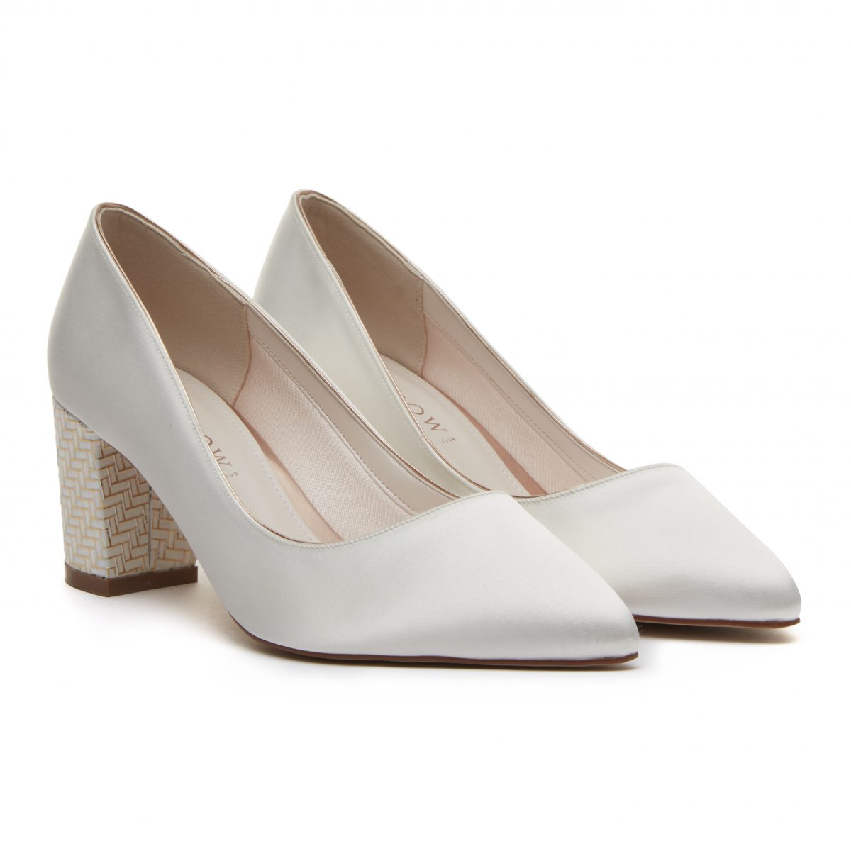 Rainbow Club Bambi - Ivory Satin & Parquet Heel Court Shoe 1