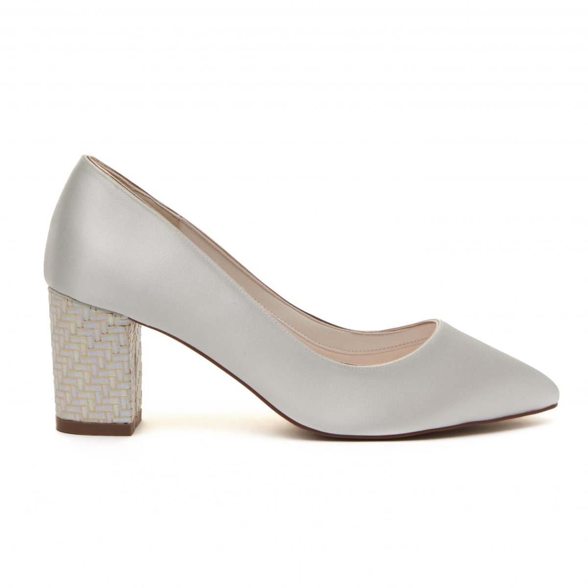 Rainbow Club Bambi - Ivory Satin & Parquet Heel Court Shoe 2