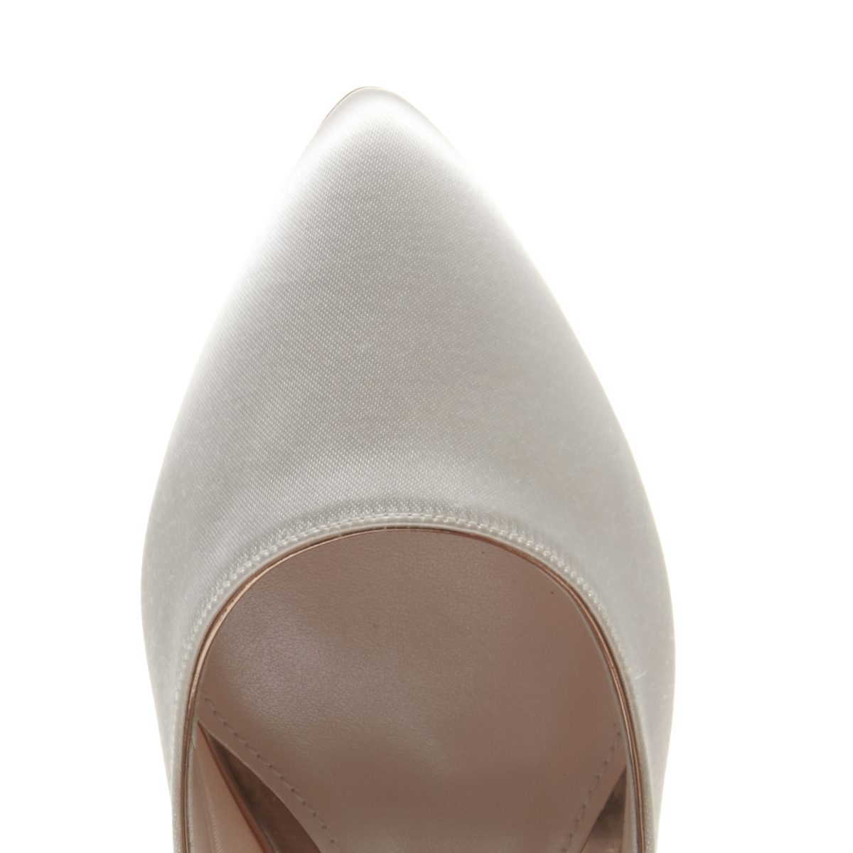 Rainbow Club Bambi - Ivory Satin & Parquet Heel Court Shoe 3