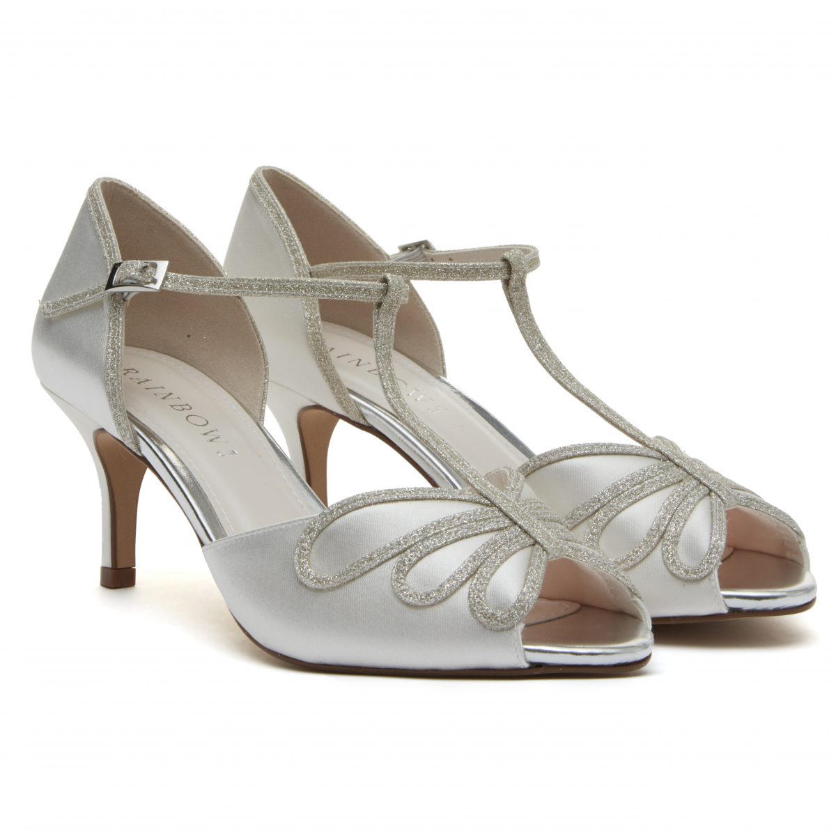 Rainbow Club Harlow - Peep Toe Satin/ Silver Shimmer Shoe 1