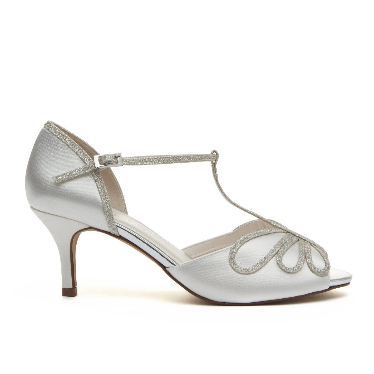 Rainbow Club Harlow - Peep Toe Satin/ Silver Shimmer Shoe 2