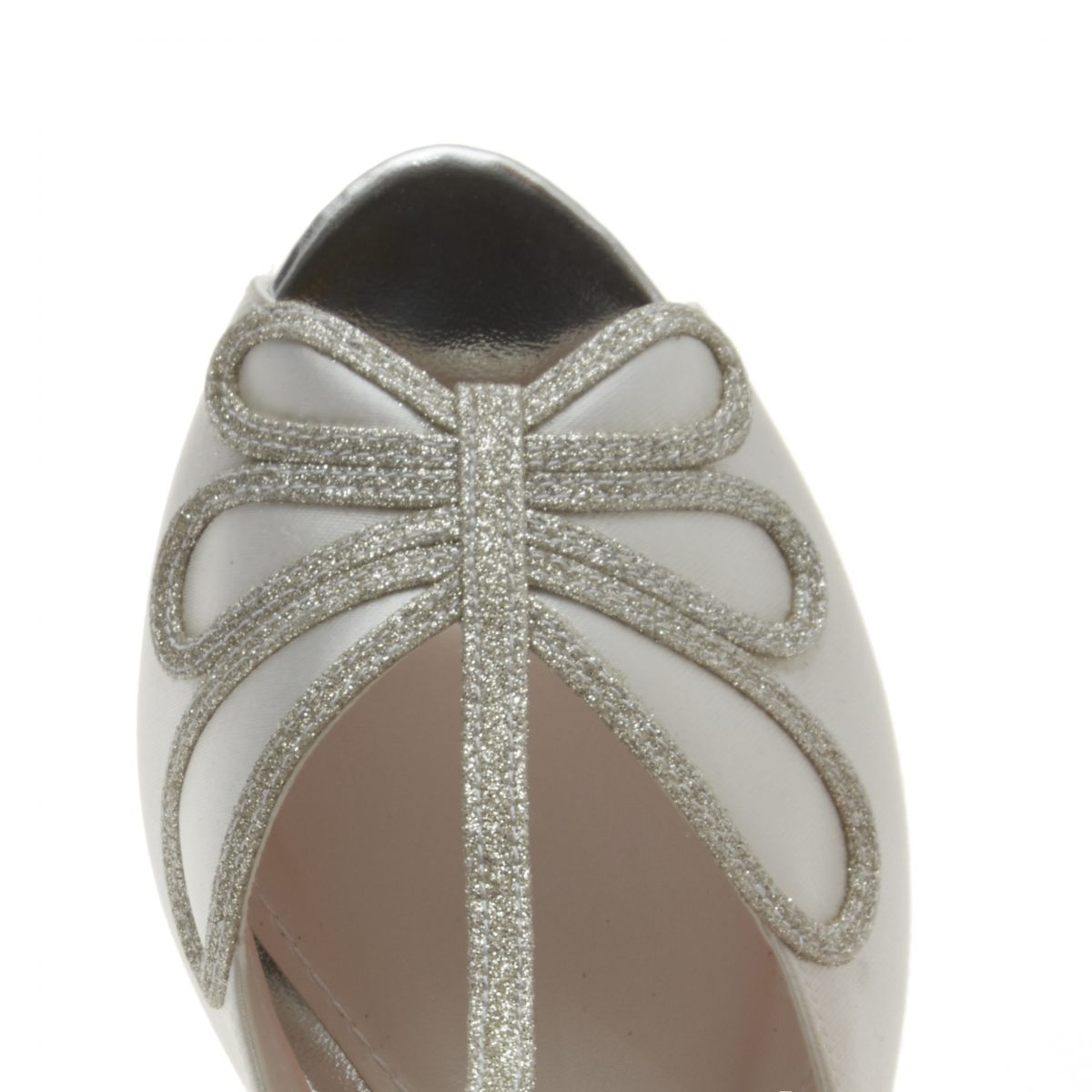 Rainbow Club Harlow - Peep Toe Satin/ Silver Shimmer Shoe 3