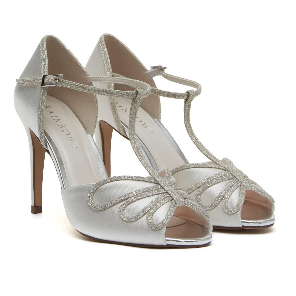 Rainbow Club Luciana - Peep Toe Satin/ Silver Shimmer Shoe 1