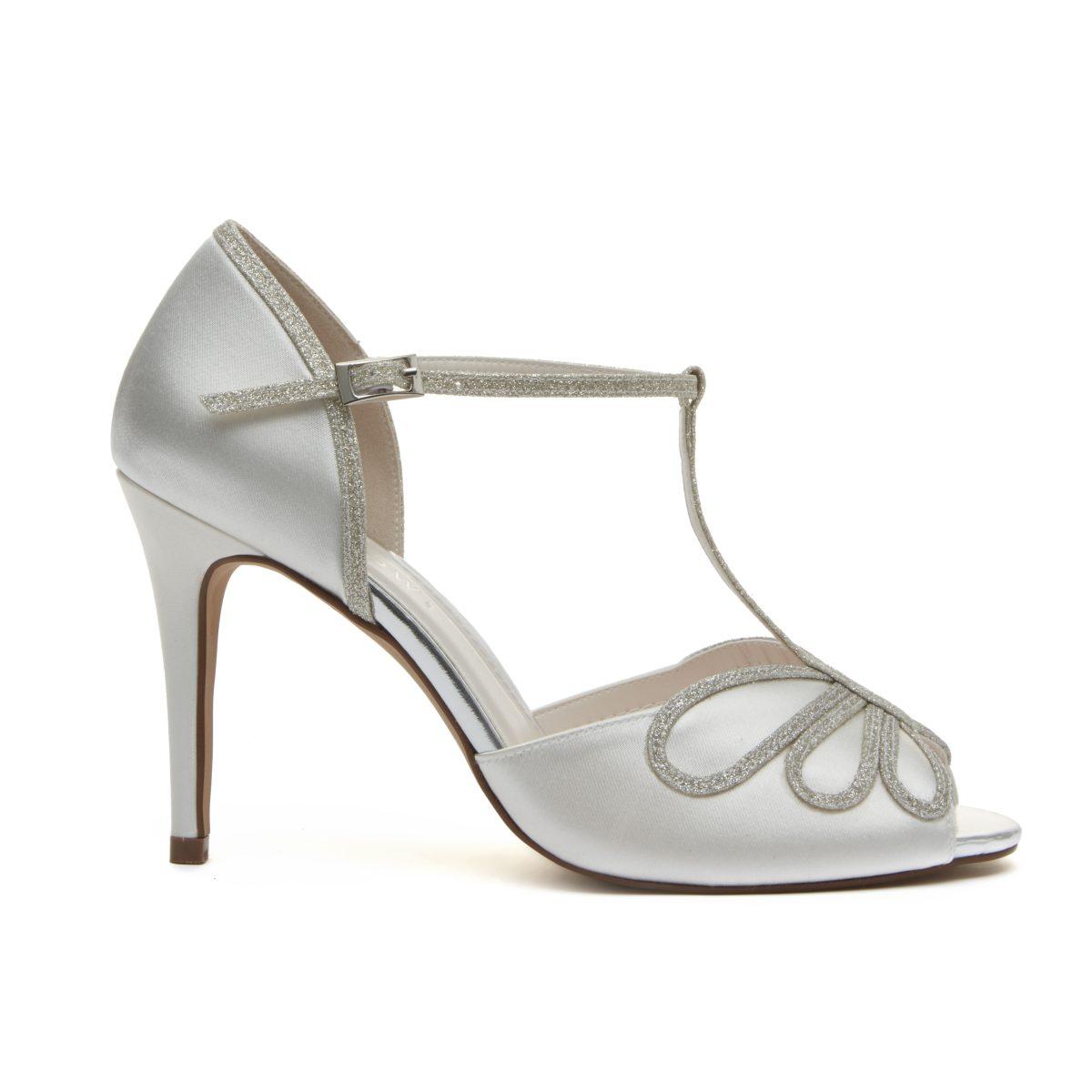 Rainbow Club Luciana - Peep Toe Satin/ Silver Shimmer Shoe 2