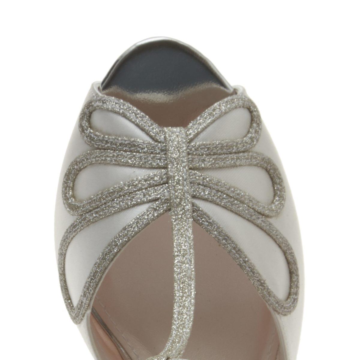 Rainbow Club Luciana - Peep Toe Satin/ Silver Shimmer Shoe 3