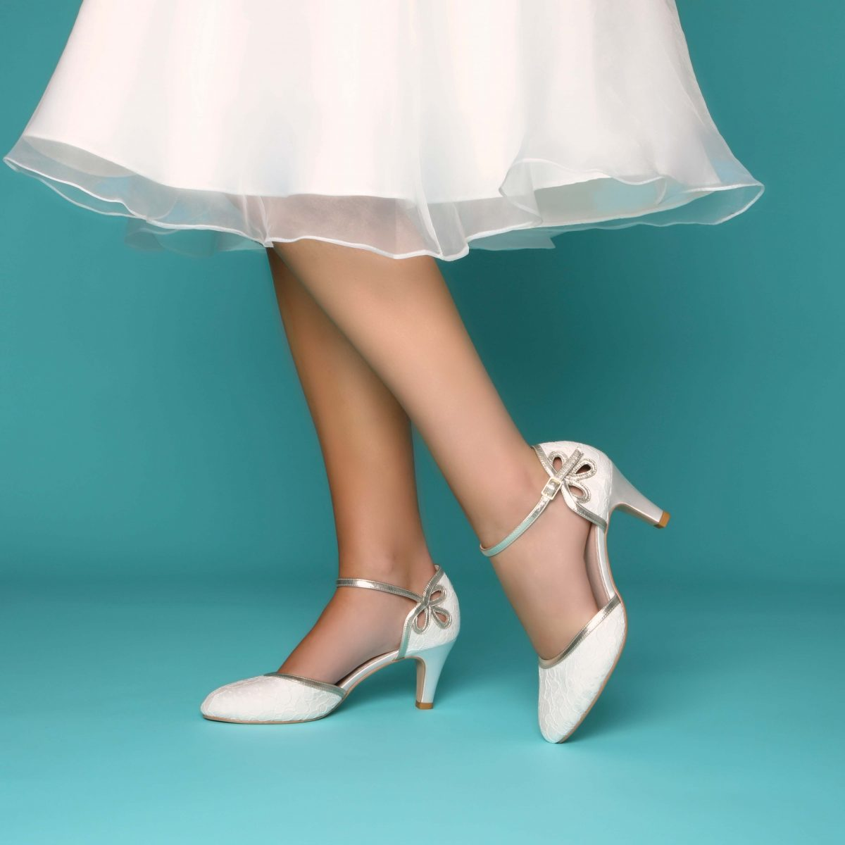 Perfect Bridal Nina Shoes - Ivory satin / Silver shimmer 1
