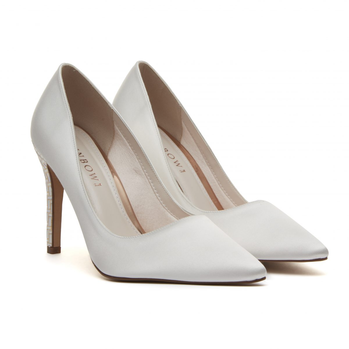 Rainbow Club Rochelle - Ivory Satin & Parquet Heel Court Shoe 1
