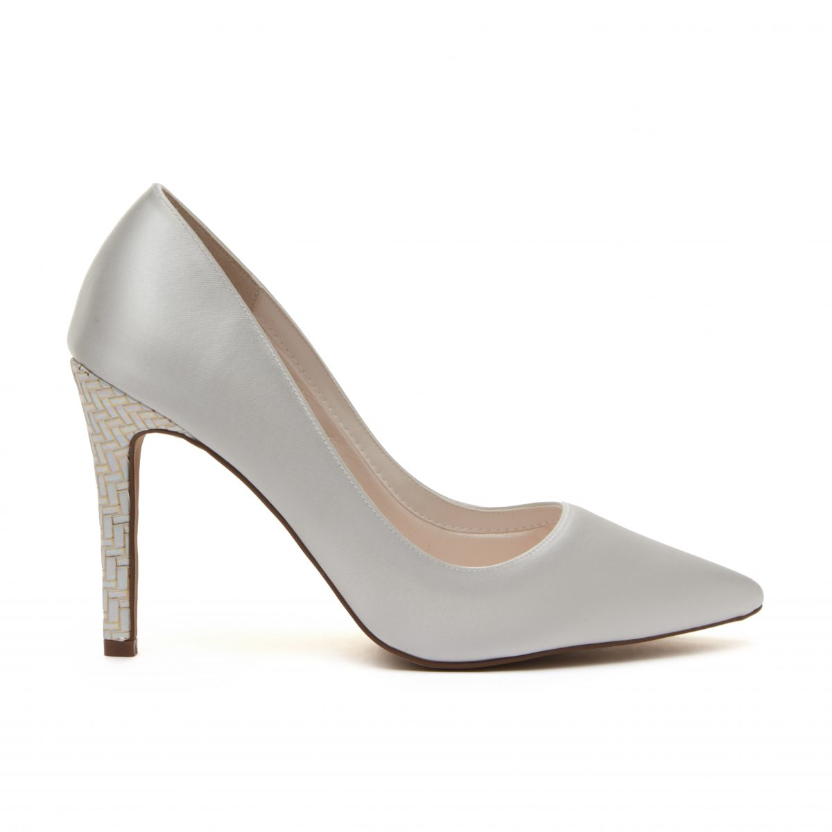 Rainbow Club Rochelle - Ivory Satin & Parquet Heel Court Shoe 2