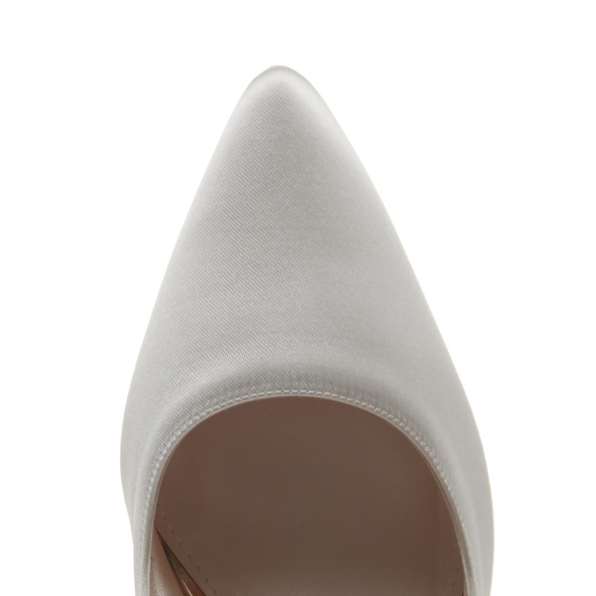 Rainbow Club Rochelle - Ivory Satin & Parquet Heel Court Shoe 3