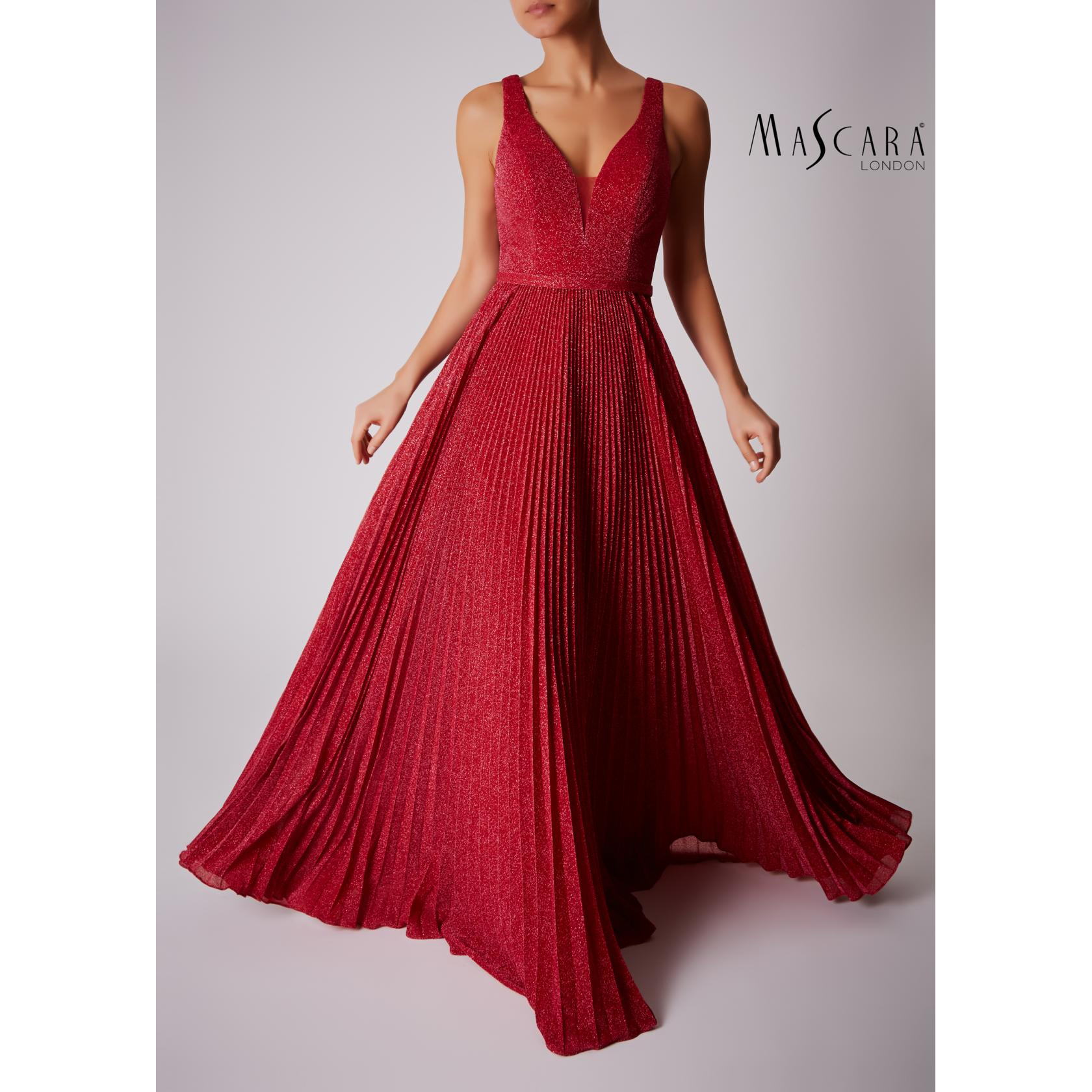 Mascara V Neck Pleated Lurex Full Length - Red 1