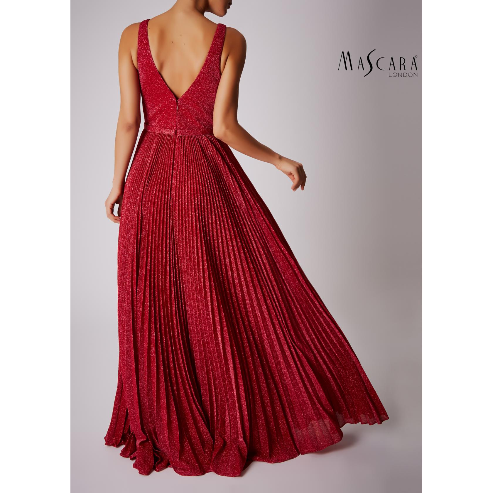 Mascara V Neck Pleated Lurex Full Length - Red 2