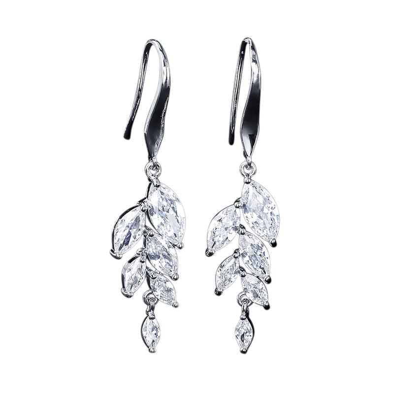 CZ Collection Bella Dainty Drop Earrings - Silver 1