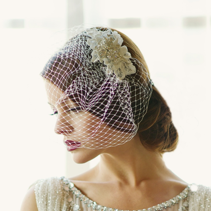 Sass B Couture Birdcage Veil - Silver / Ivory 3