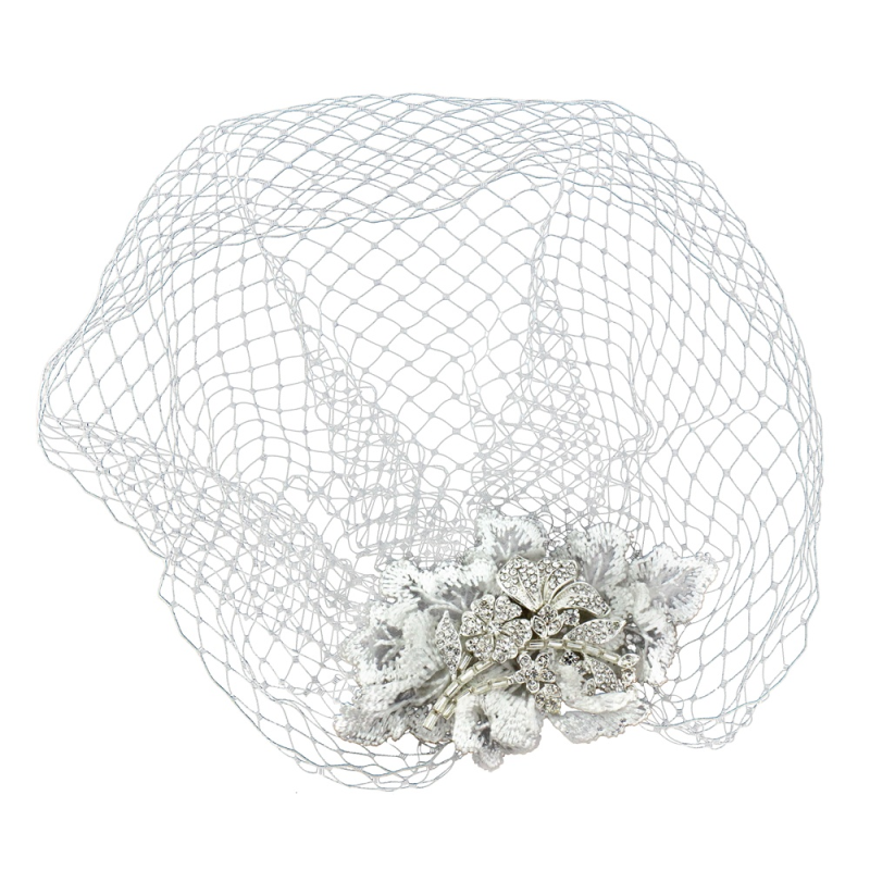 Sass B Couture Birdcage Veil - Silver / Ivory 1