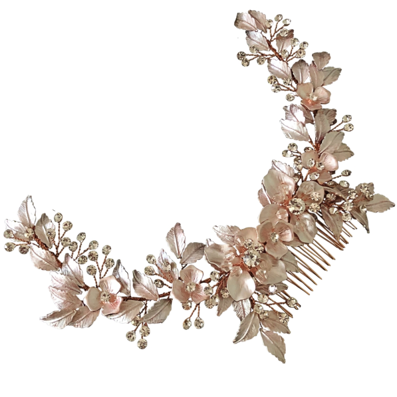 Athena Collection - Floral Extravagance Headpiece - Pink Blush 1