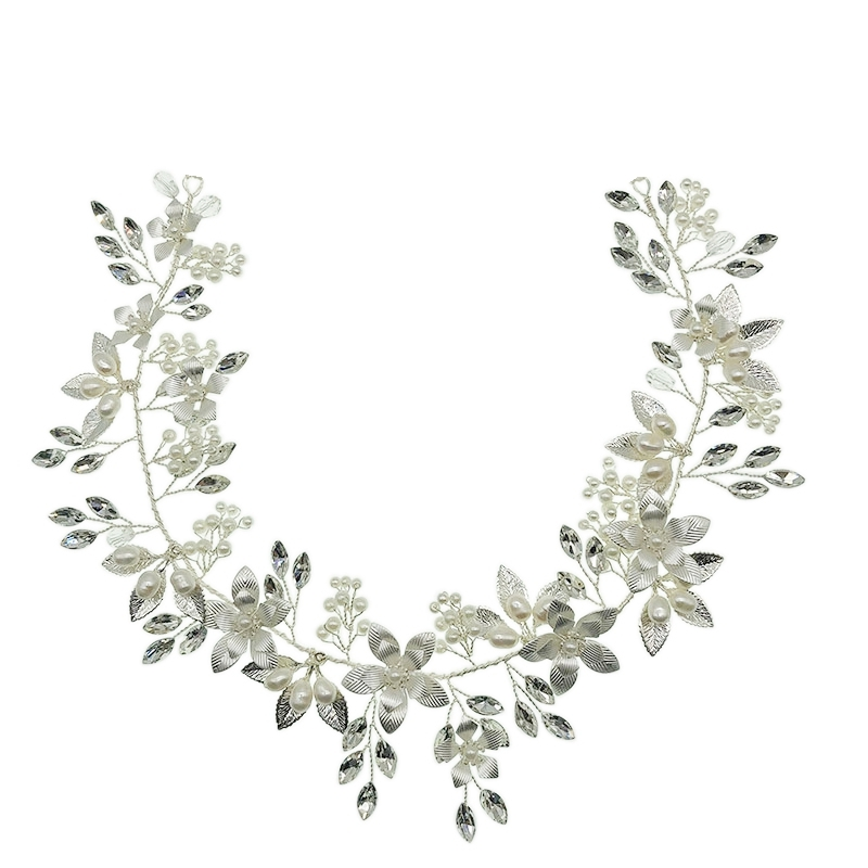 Athena Collection - Floral Romance Hairvine - Silver 1