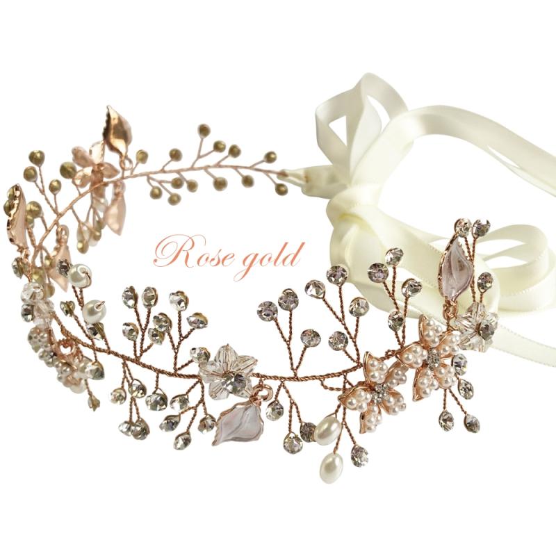 Athena Collection - Crystal Elegance Hair Vine -  Rose Gold 1