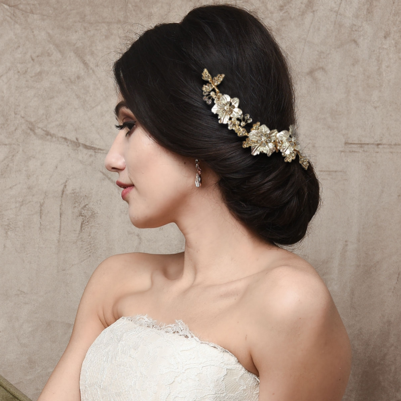 Athena Collection - Floral Romance Exquisite Hair Vine - Gold 3