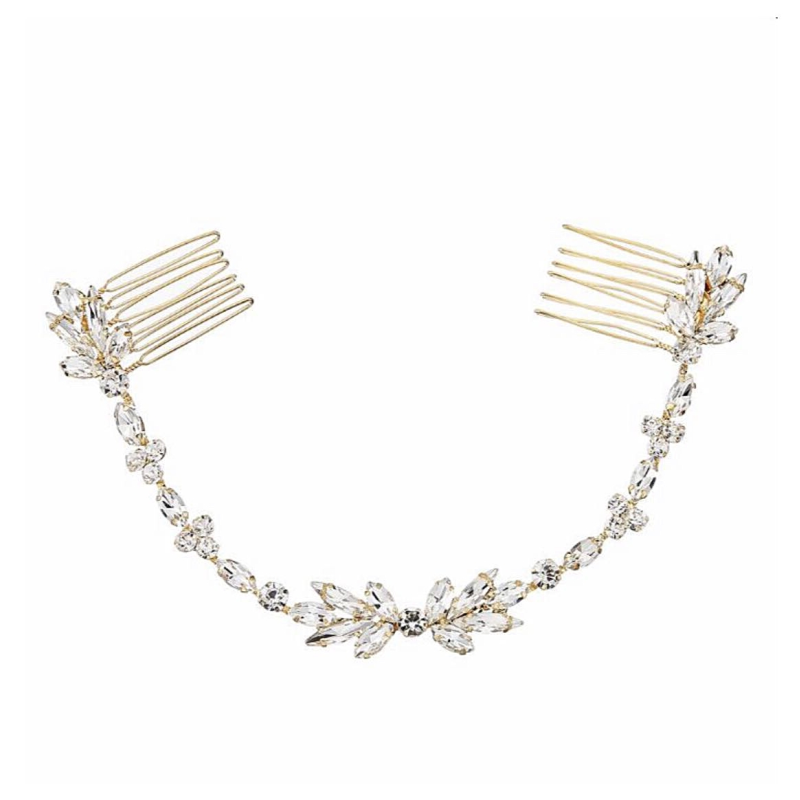 Athena Collection - Dainty Crystal Vine - Gold 1