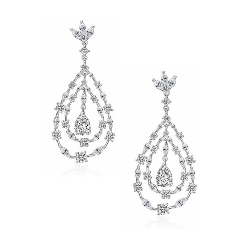 CZ Collection Crystal Glam Earrings - Silver 1