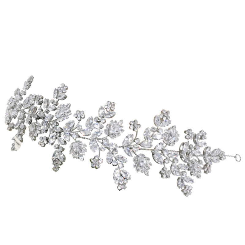 Cubic Zirconia Collection - Gatsby Style Opulence Headpiece - Silver 2