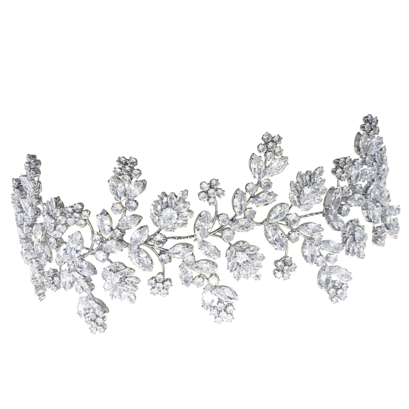 Cubic Zirconia Collection - Gatsby Style Opulence Headpiece - Silver 3