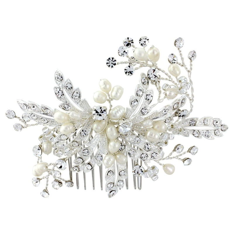 Sass B Ophelia Crystal Hair Comb - Silver 1