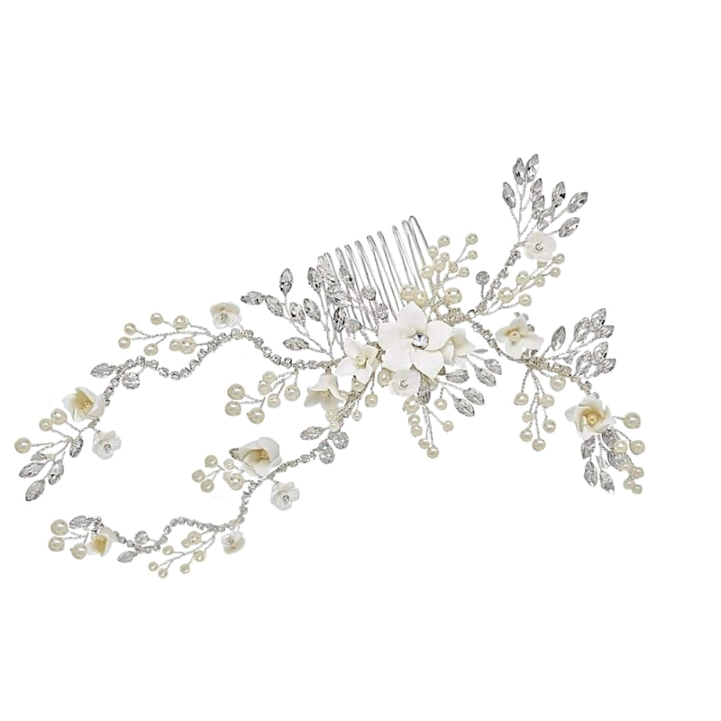 Athena Vintage Luxe Hair Comb - Silver 1