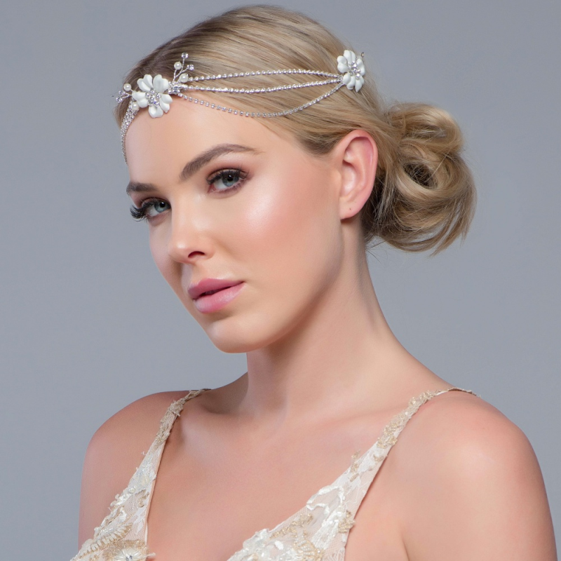 Sass B Collection -Jessy Crystal Headpiece - Silver 3