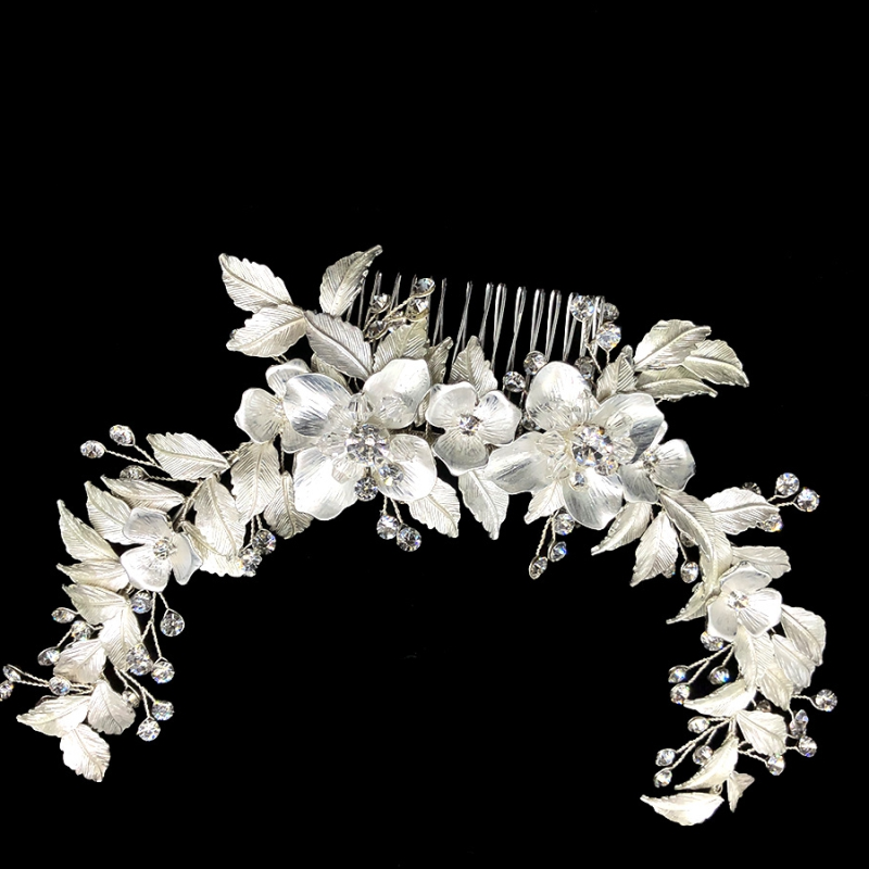 Athena Collection - Floral Extravagance Headpiece - Silver 1
