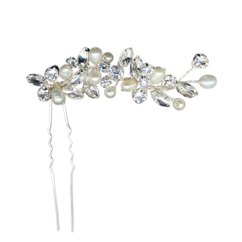 Athena Collection - Crystal Hair Vine and Pin Set - Silver 3