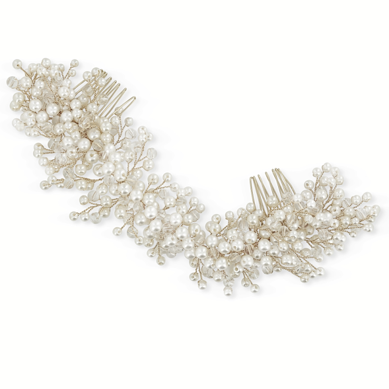 Athena Collection - Lux Pearl Comb - Silver 1